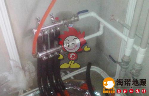 香湖院海诺地暖分水器施工效果图