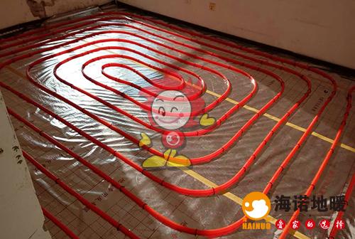 月光园海诺地暖盘管施工效果图