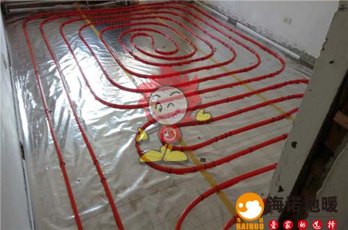 清水园海诺地暖盘管施工效果图