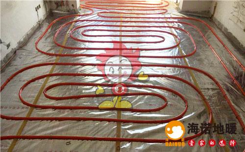 金狮家园海诺地暖盘管施工效果图
