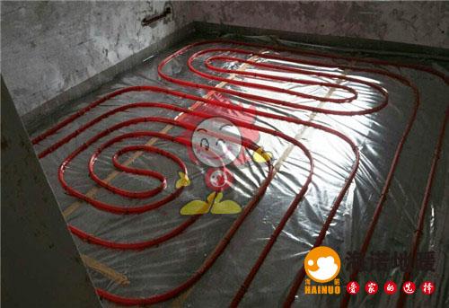 华城庭苑海诺地暖盘管施工效果图