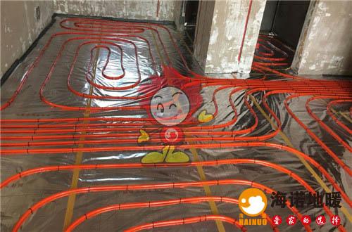 万东花园海诺地暖盘管施工效果图